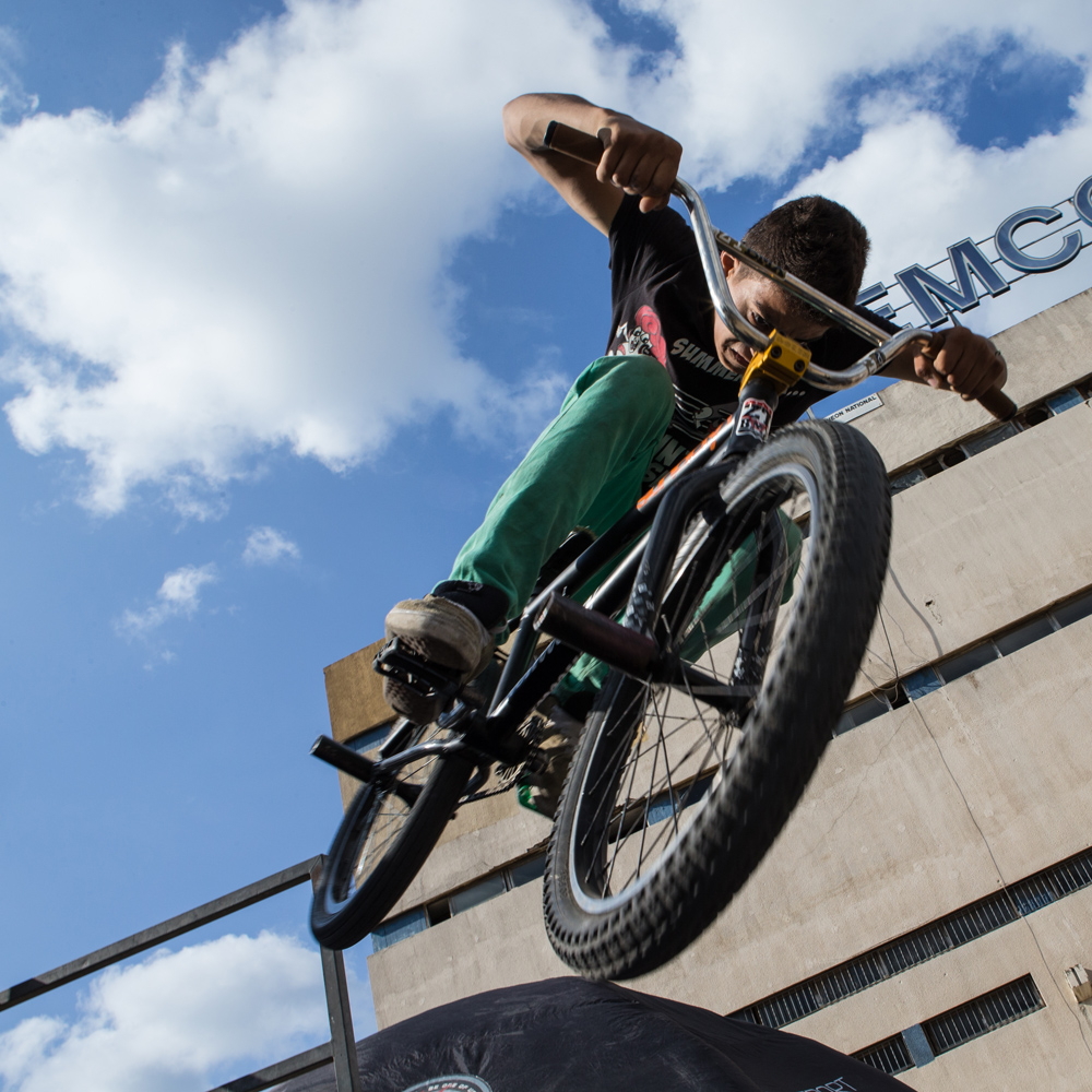 A young BMXer performs at Urban Culture in Beirut, Lebanon on Saturday, June 7, 2014.