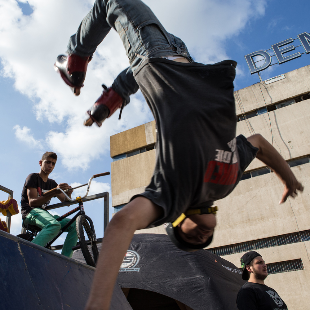 Omar Shames of team Shred or Die performs a flip at Urban Culture in Beirut, Lebanon on Saturday, June 7, 2014.