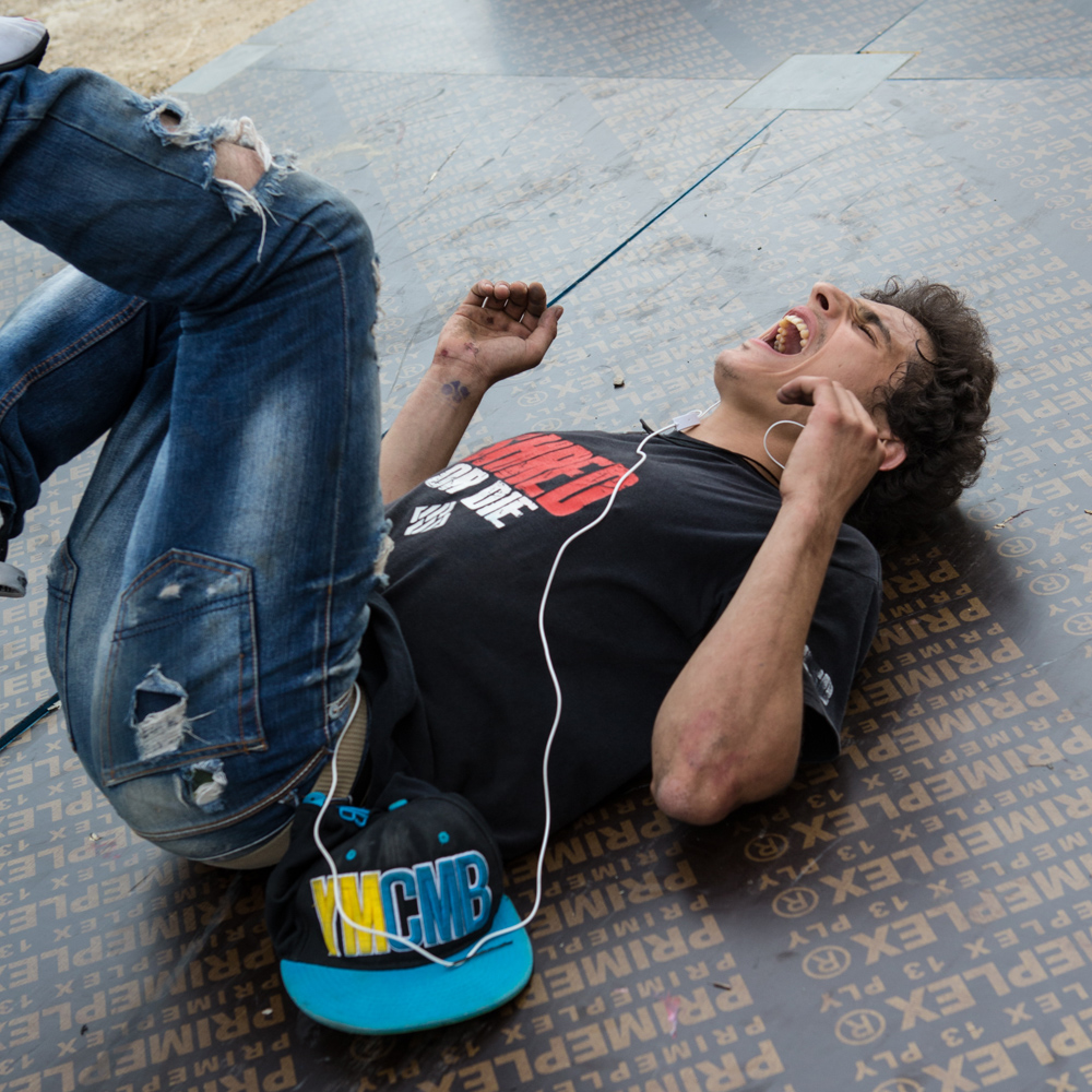 Mohammad Shames reacts to a spill at Urban Culture in Beirut, Lebanon on Saturday, June 7, 2014.