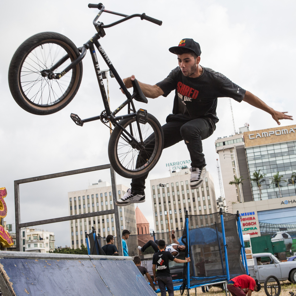 Walid Kassem, Lebanon's Top Street and Park BMXer with team Shred or Die, grabs some air during Urban Culture in Beirut, Lebanon on Saturday, June 7, 2014.