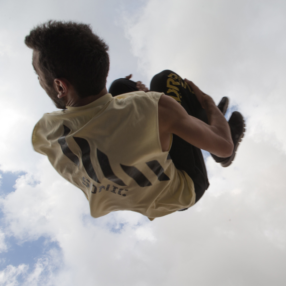 A parkour athlete flips in the air during Urban Culture in Beirut, Lebanon on Saturday, June 7, 2014.