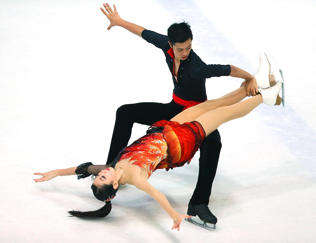 Kumiko Maeda and Junya Watanabe of Japan skate during the junior ice short dance of the ISU Junior Grand Prix in Zagreb, Croatia.