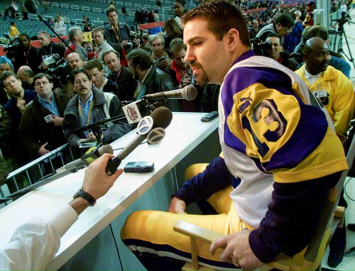 "To Rams quarterback Kurt Warner: ""Do you believe in voodoo, and can I have a lock of your hair?"""