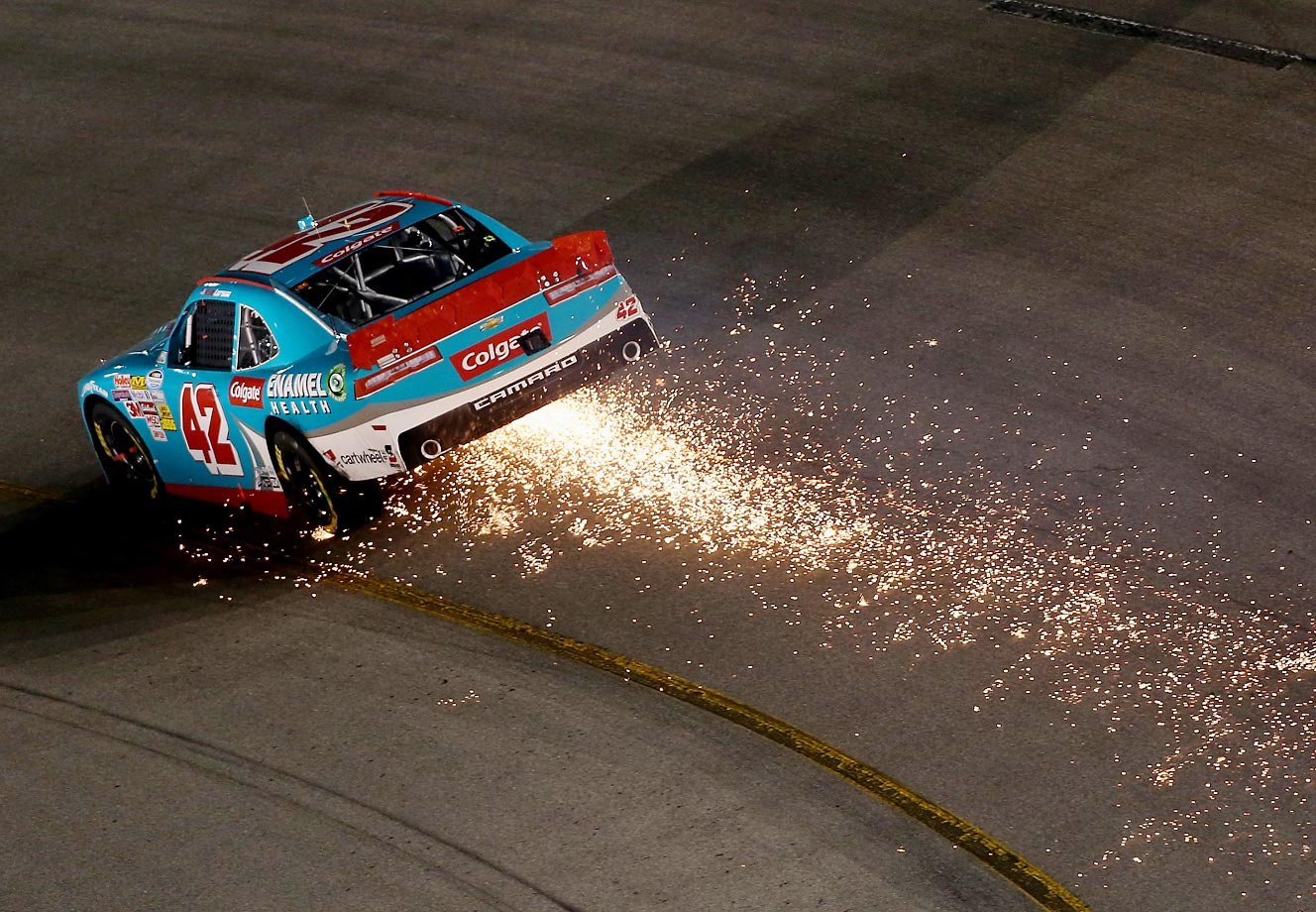 Sparks fly from Kyle Larson's car during the NASCAR Nationwide Series Virginia529 College Savings 250 at Richmond.