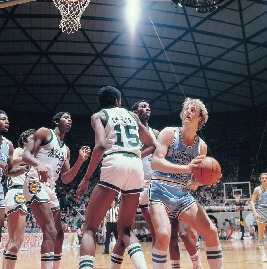 "Michigan State guard Earvin ""Magic"" Johnson, forward Ron Charles and Indiana State forward Larry Bird during the title game, won by the Spartans, 75-64."