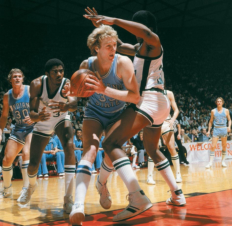 After accepting a scholarship to play for Bob Knight at Indiana, Bird dropped out after 24 days because he was overwhelmed by the size of the school. A year later he enrolled at Indiana State, a school that had never been to the NCAA tournament before. In the semifinal against DePaul, Bird had 35 points, 16 rebounds and nine assists. Bird won the Wooden and Naismith awards his senior season and led the Sycamores to the national championship game. His 2,850 points remain 13th most all-time and seventh most among players with at least 1,000 career rebounds.