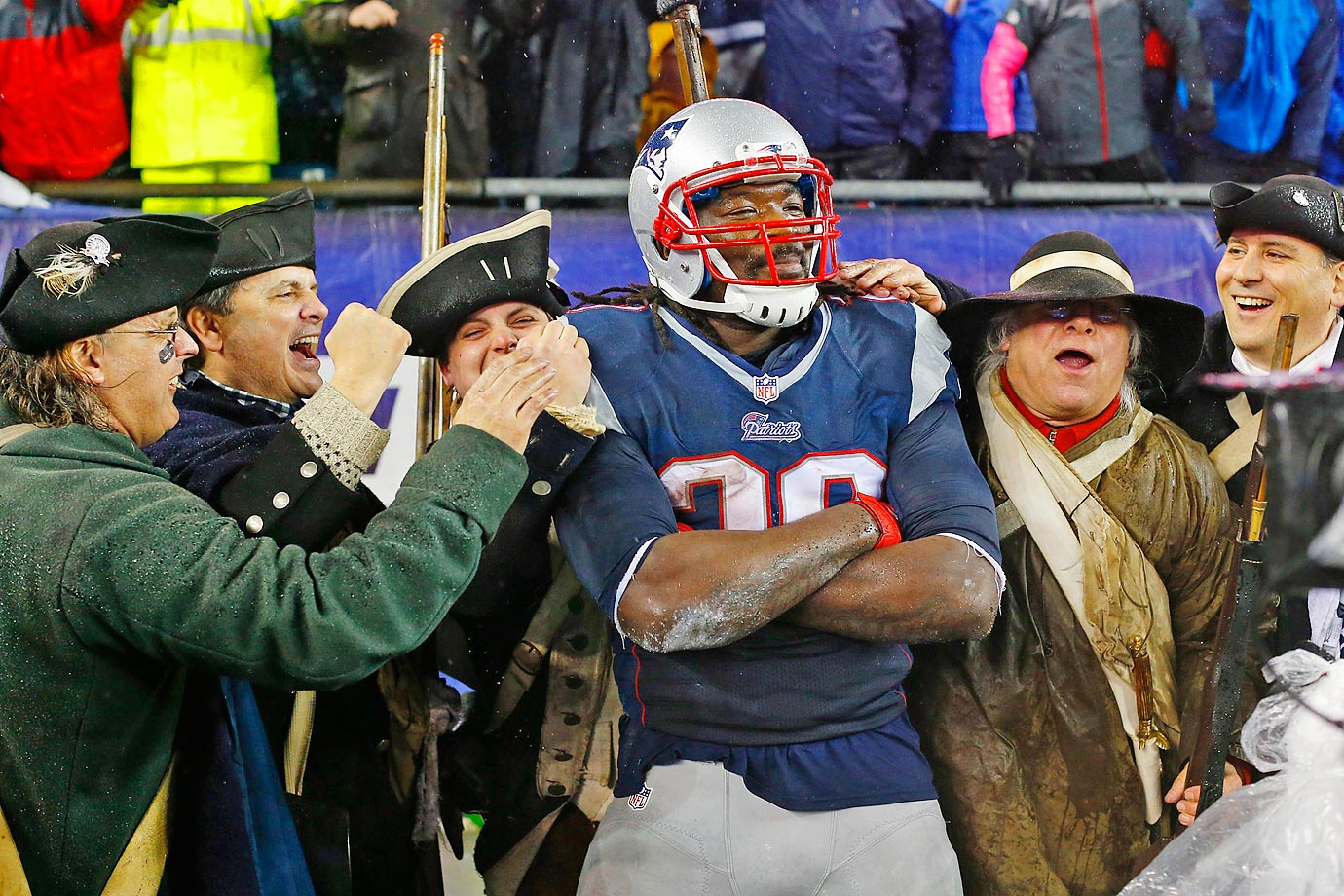 An unusual touchdown celebration by New England Patriots running back LeGarrette Blount.
