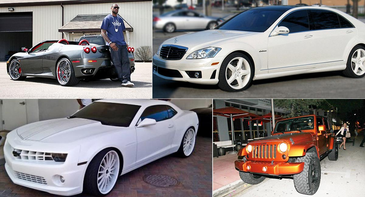 LeBron James with a few of his cars.
