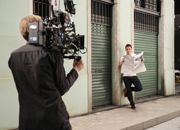 Messi on the set of a 2014 Pepsi commercial. (Getty Images)