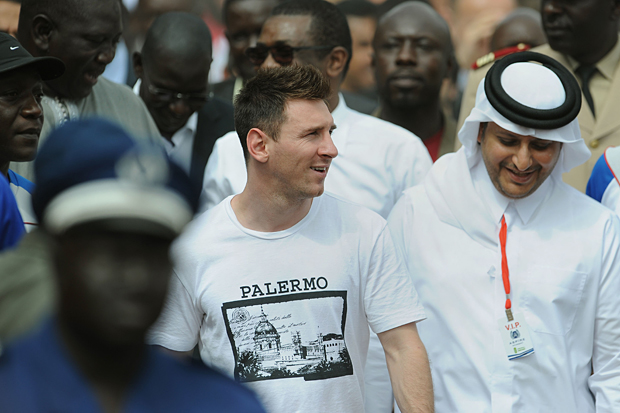 Messi visits Senegal during a goodwill trip to Africa. (AP)