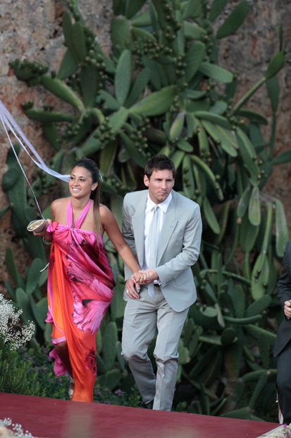 Messi and Antonella Roccuzzo attend the wedding of Spanish football player Andres Iniesta. (Getty Images)