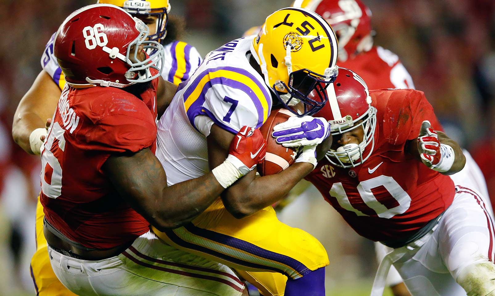 Alabama 30, LSU 16: The Crimson Tide defense did what had previously seemed impossible—stop Leonard Fournette. Alabama held the Tigers' star running back to 31 yards on 19 carries while Derrick Henry rushed for 210 yards and three touchdowns.