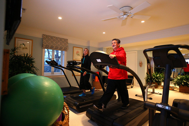 One of the rooms in Leonsis' house has treadmills, an elliptical, a stationary bike, and a state-of-the-art massage chair.