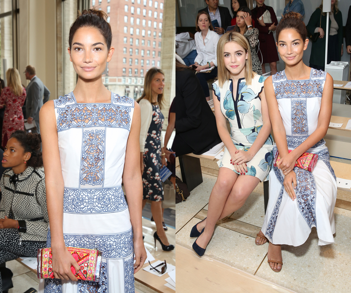 Lily Aldridge with Kiernan Shipka at Tory Burch