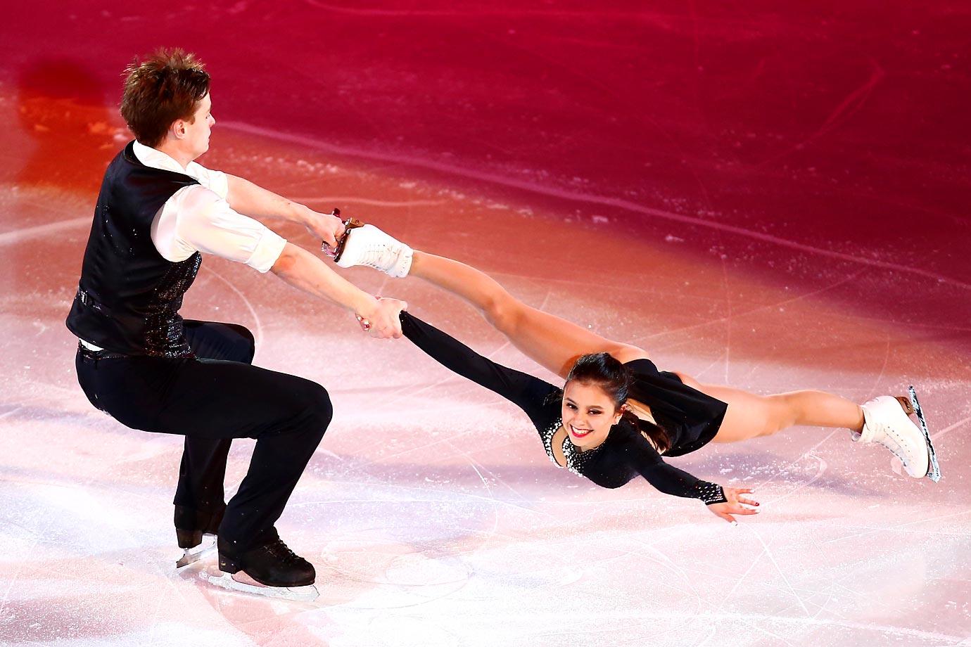 Maxim Miroshkin and Lina Fedorova of Russia perform during the Gala Exhibition of the ISU World Junior Figure Skating Championships. That has to hurt.