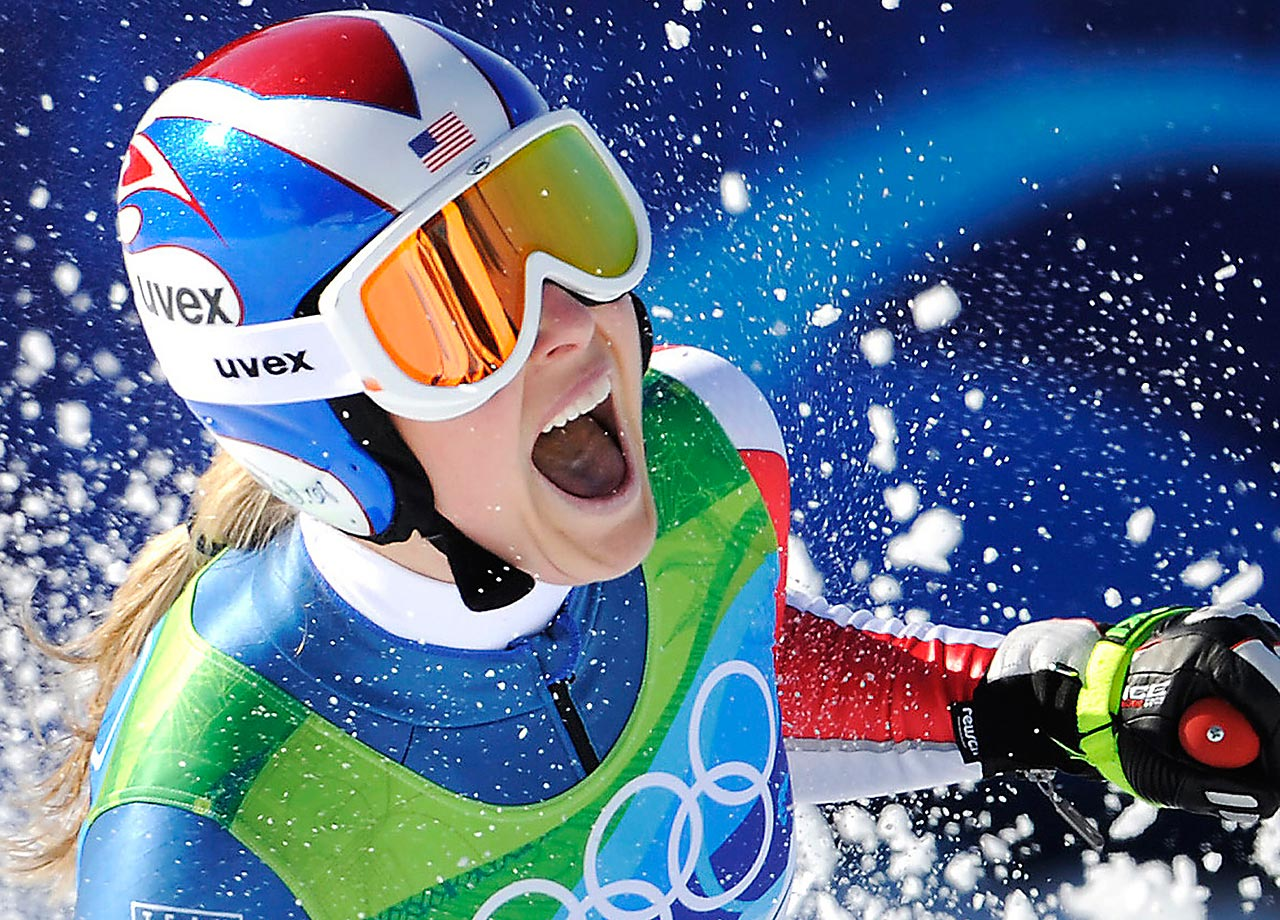 Vonn after finishing the downhill at the Vancouver Olympics, 2010.