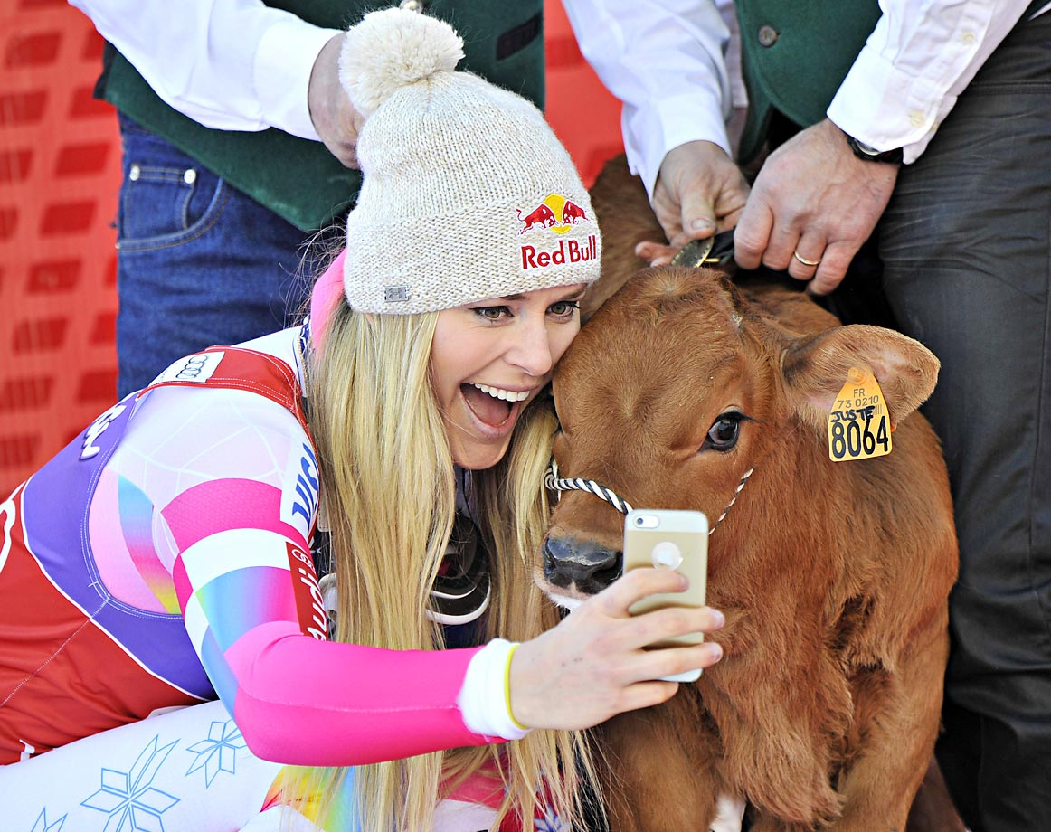 Lindsey Vonn took first place at the Audi FIS Alpine World Cup in December and won a cow named Winnie. We're not kidding.