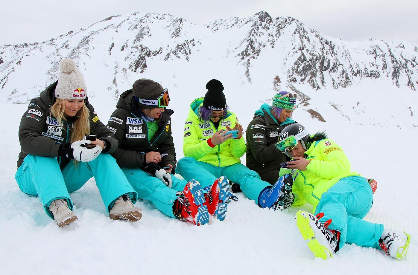 U.S. ski team members Lindsey Vonn, Alice Mckennis, Laurenne Ross, Megan Harrod and Stacey Cook take a peaceful break while in Soelden, Austria.