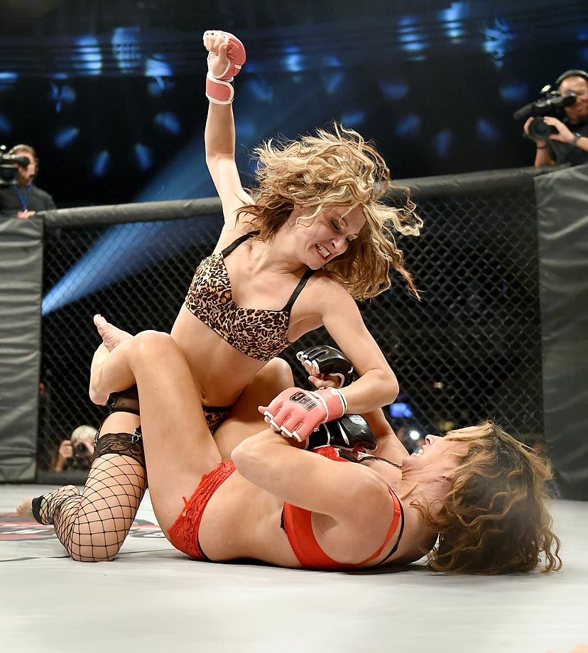 Riley Norris (top) and Jenny Valentine during the Lingerie Fighting Championships 20: A Midsummer Night's Dream at The Joint inside the Hard Rock Hotel & Casino in Las Vegas.