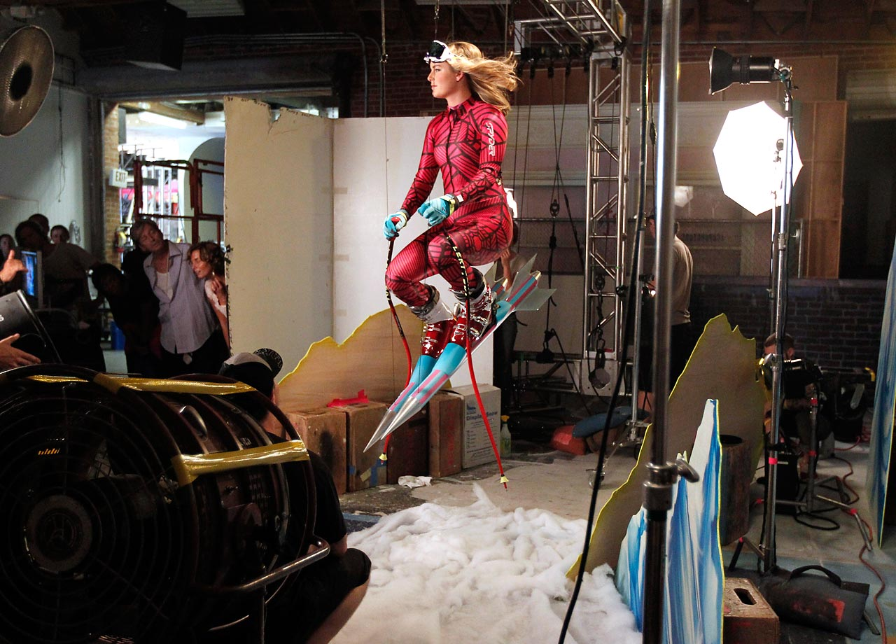 Vonn poses on the set of her Got Milk? Mustache ad in 2010.