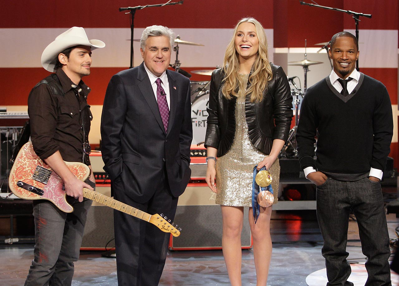Brad Paisley, Jay Leno, Lindsey Vonn and Jamie Foxx on the Tonight Show on March 1, 2010.