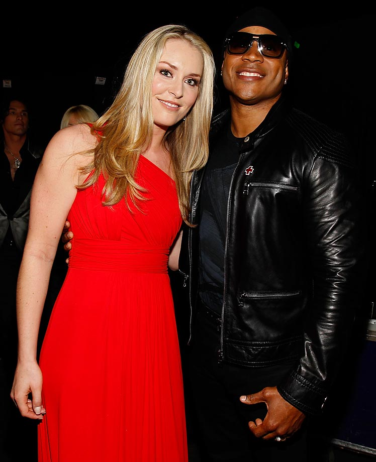 Vonn with LL Cool J, backstage at the 45th Annual Academy of Country Music Awards in 2010.
