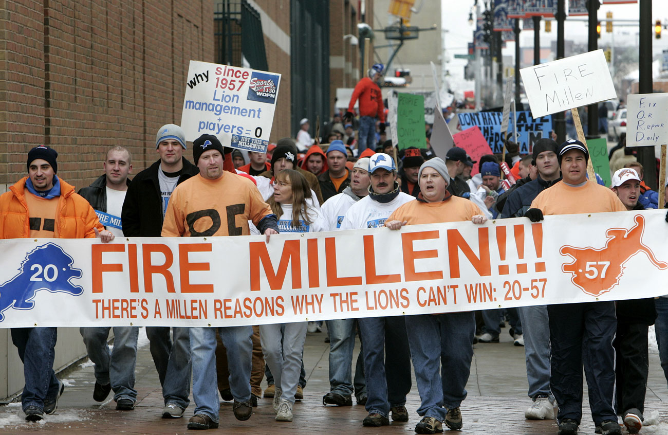 "The ""Millen Man March"" in '05 was one of many Turkey Day fan demonstrations against a stagnant Lions team in the '00s."