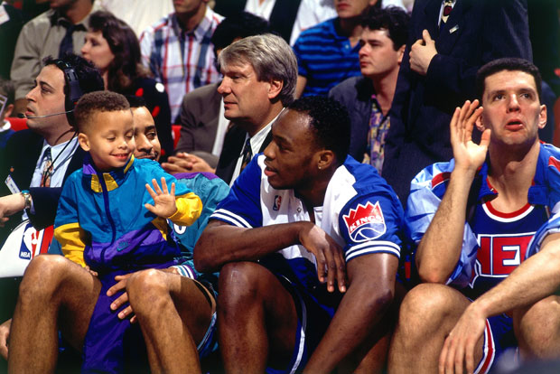 Dell Curry, Stephen Curry, Mitch Richmond and Drazen Petrovic :: Getty Images