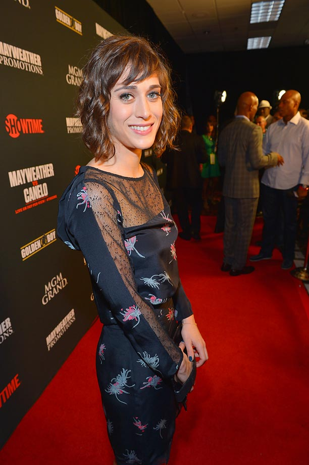 Actress Lizzy Caplan arrives at the MGM Grand Garden Arena for the Floyd Mayweather vs. Canelo Alvarez bout.