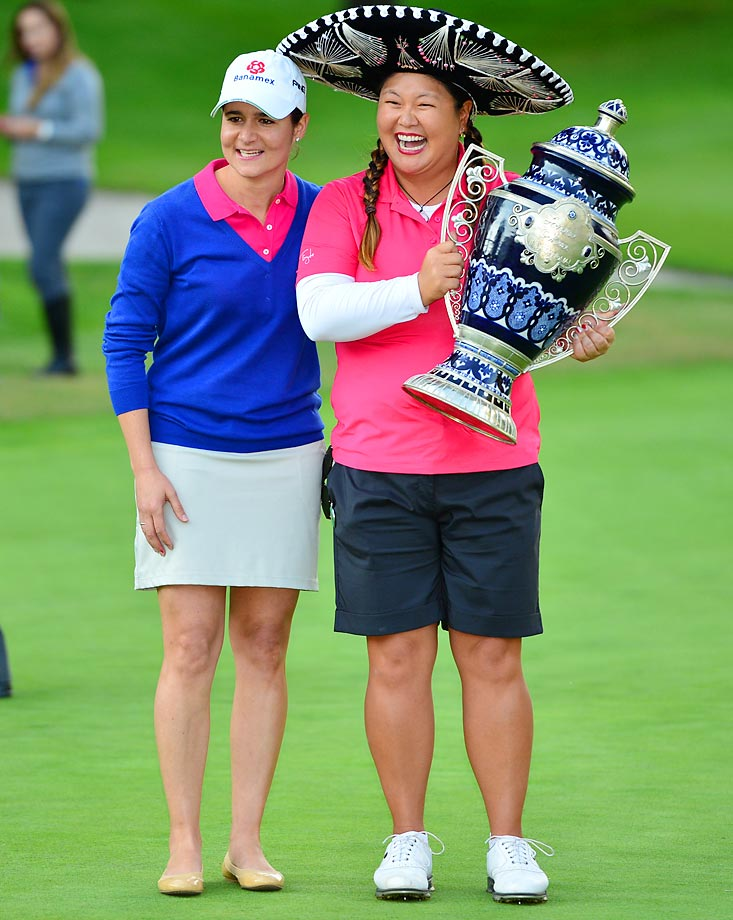 Christina Kim and Lorena Ochoa at the Lorena Ochoa Invitational Golf Tournament in Mexico City.