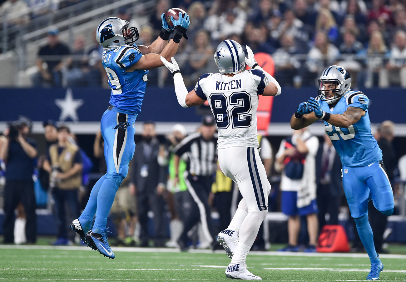 Luke Kuechly intercepts a pass intended for Jason Witten in the Panthers' Thanksgiving Day win over the Cowboys.
