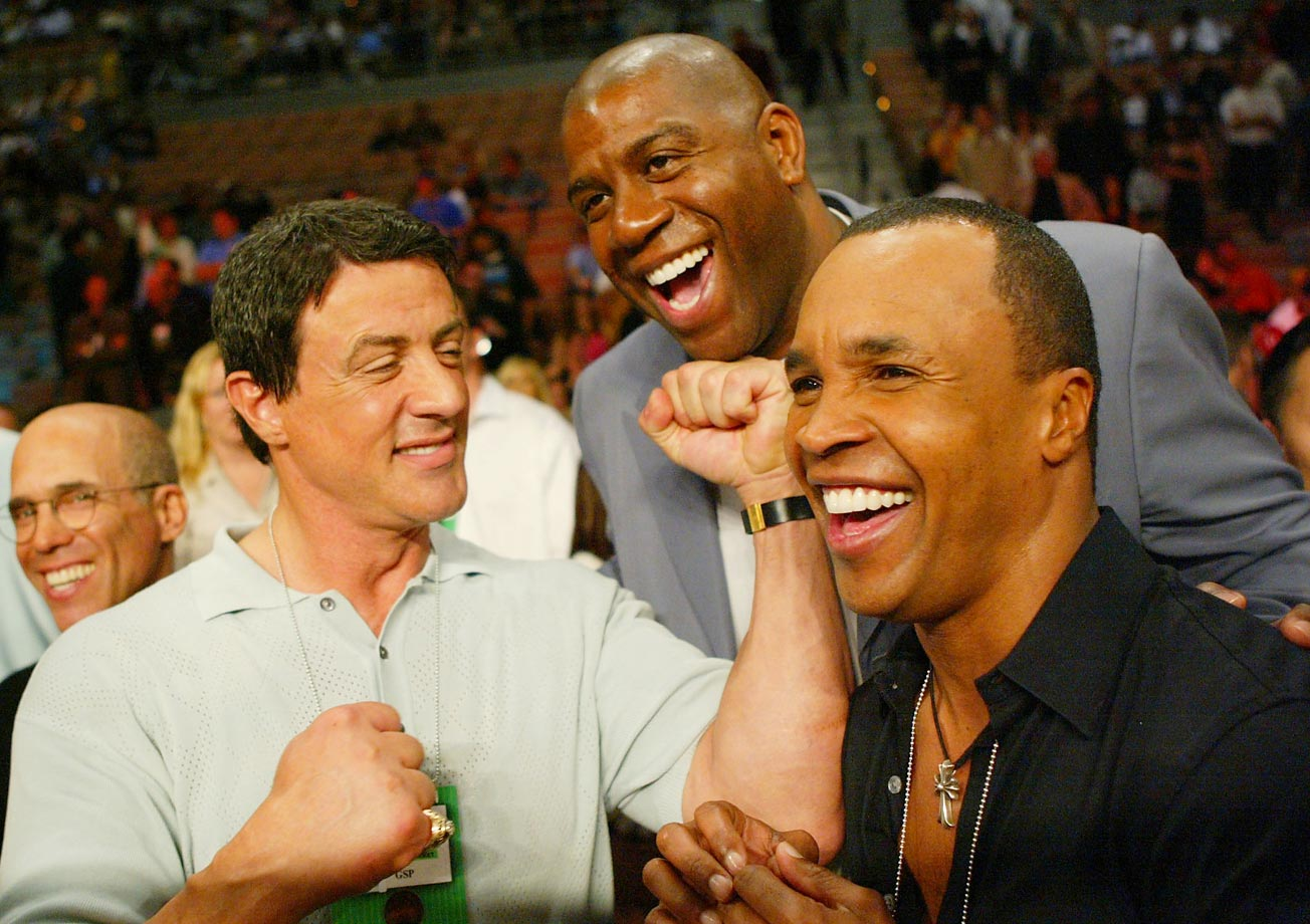 Sylvester Stallone, Magic Johnson, and Sugar Ray Leonard play around before Shane Mosley takes on Winky Wright.