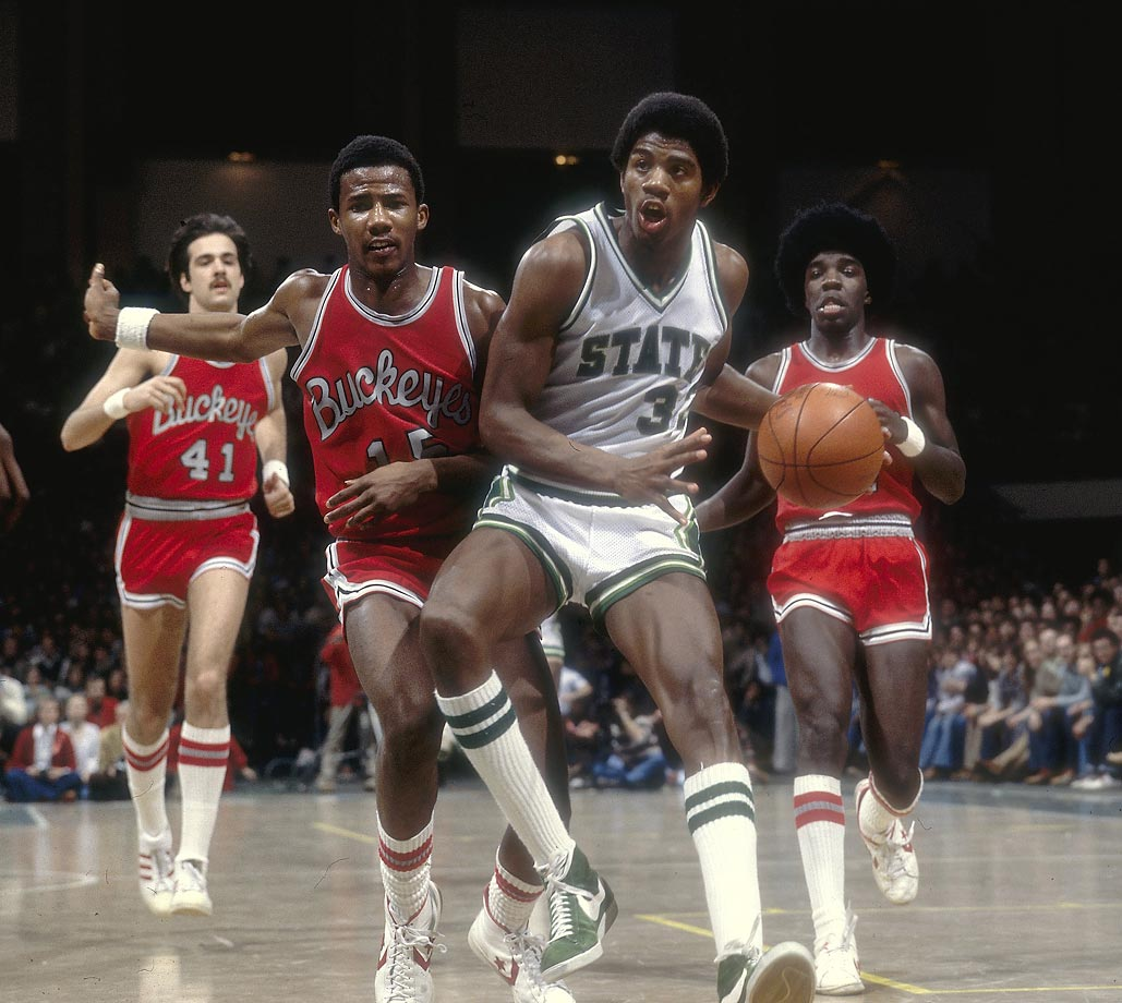 The game had never seen anything like him: A 6-foot-9 point guard who orchestrated the offense more than he executed it. Johnson averaged 17.1 points, 7.6 rebounds and 7.9 assists in his two years with the Spartans, but it was his leadership and charisma that mattered most as he led Michigan State to the 1979 NCAA title. In a showcase that still has the highest Nielsen rating of any basketball game, college or pro, Johnson scored a game-high 24 points to go along with nine assists and eight rebounds to lead Michigan State to a victory over Larry Bird-led Indiana State.