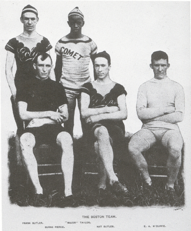 The integrated Boston pursuit team of 1897, left to right: Frank Butler, Burns Pierce, Major Taylor, Nat Butler, Eddie McDuffie. In Taylor's first season as a professional, he was on this team that raced against a team from Philadelphia in July 1897. This is possibly the earliest photo of an integrated American professional sports team. It appeared in Bearings, July 29, 1897, and is held in the Library of Congress.