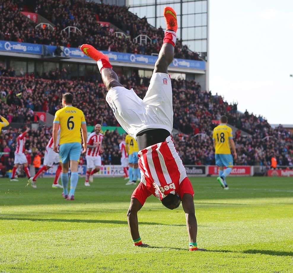 Mame Biram Diouf of Stoke City celebrates scoring the opening goal against Crystal Palace at Britannia Stadium.