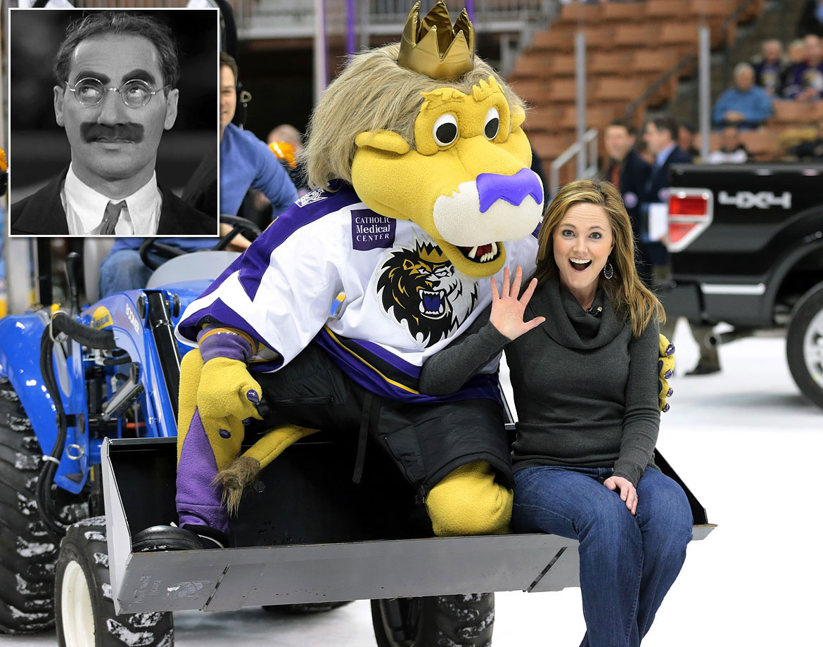 Clearly a kin of Bailey, the L.A. Kings' lion mascot, Max's purple snout summons Marxist images of Groucho's greasepaint mustache. Like HockeyBird, he could also use a nice big cheroot in the corner of his mouth.