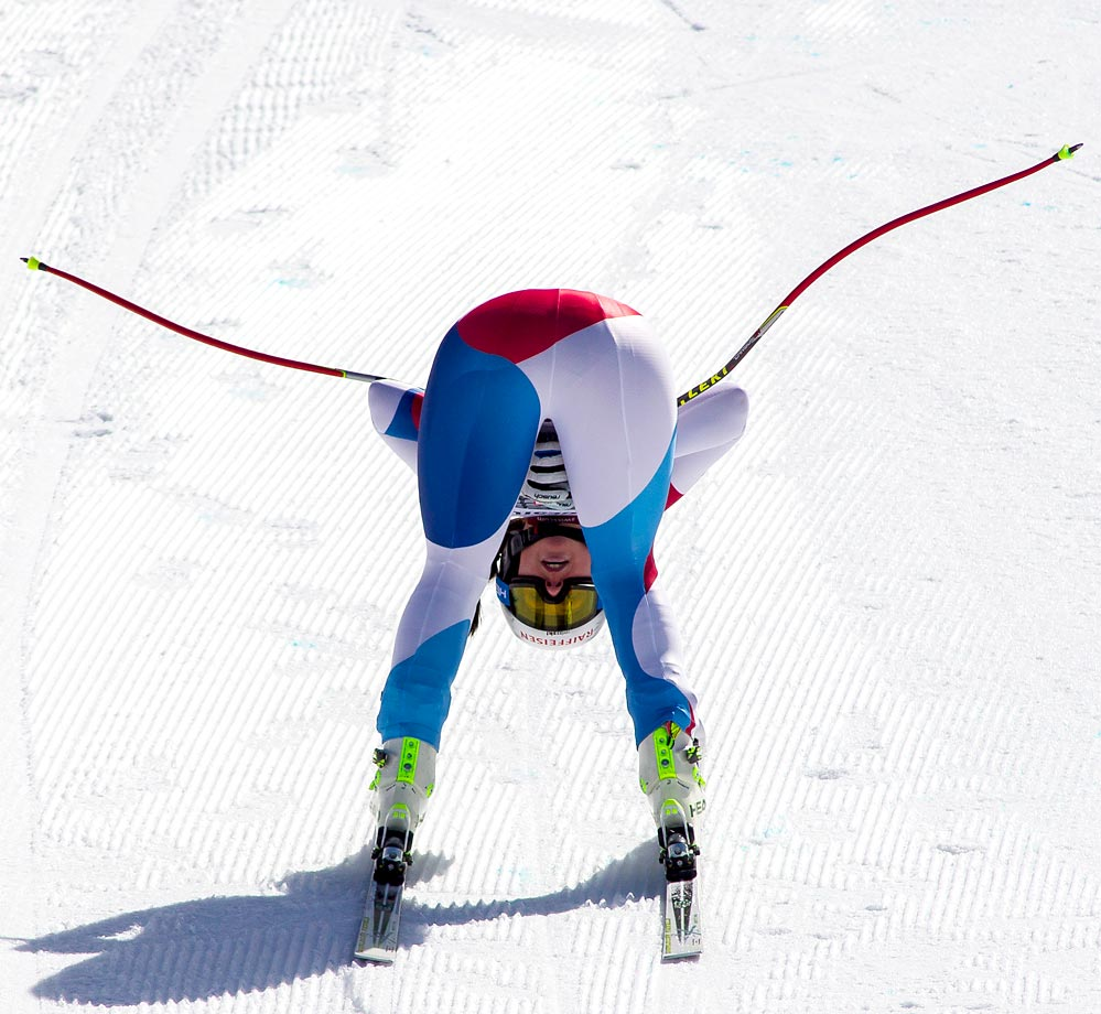 Marianne Abderhalden of Switzerland crosses the finish line during the Audi FIS Alpine Ski World Cup downhill race.