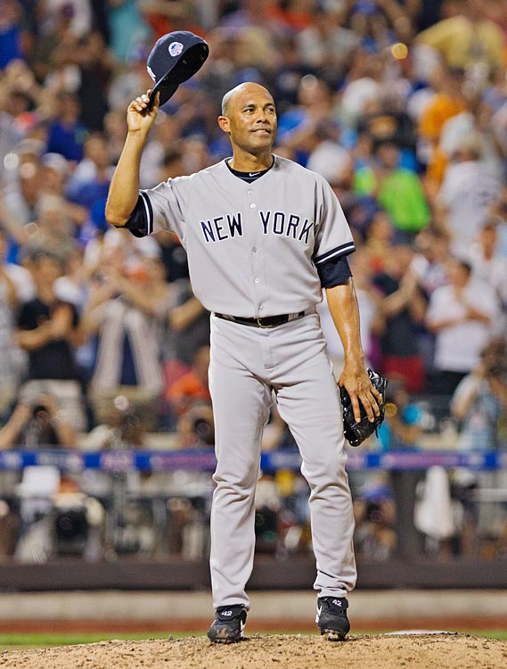 "In his 13th and final All-Star Game, baseball's all-time saves leader, Mariano Rivera, took his cue from Metallica's ""Enter Sandman"" and jogged on to a conspicuously empty field in the 8th inning. His American League teammates had delayed taking the field so the 43-year-old Rivera, who is retiring at year's end, could enjoy a prolonged and deserved standing ovation from 45,186 fans and nearly six-dozen of his playing peers at Citi Field. Although he didn't close the game, Rivera did pitch a perfect 8th inning and took home MVP honors after the AL's 3-0 win."