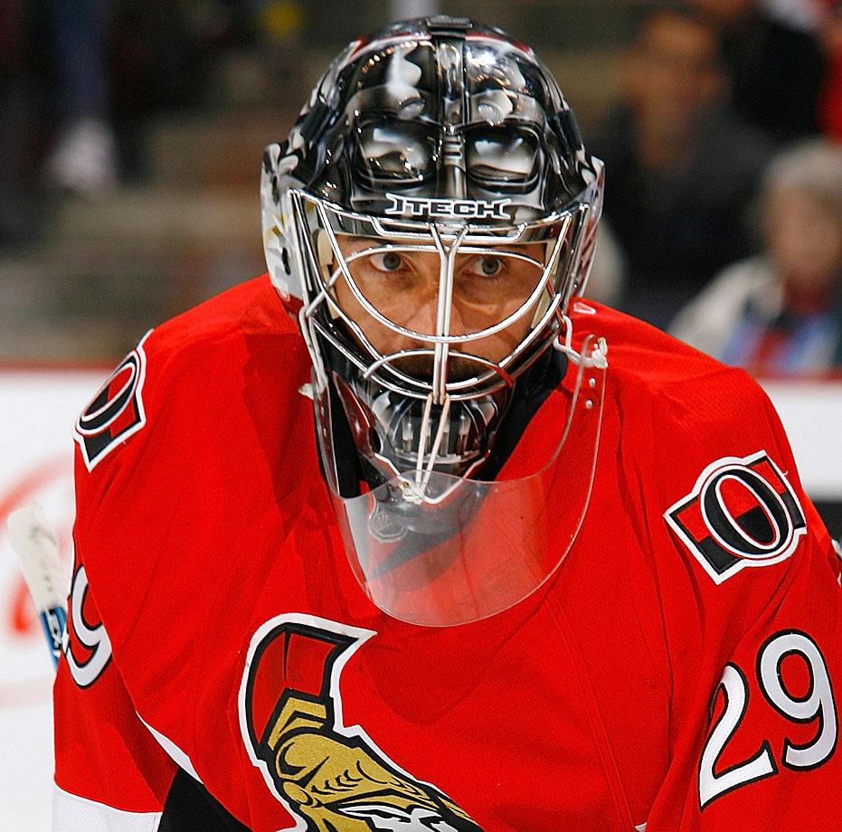Ottawa Senators goalie Martin Gerber donned a Darth Vader-themed mask during the 2008-09 NHL season.