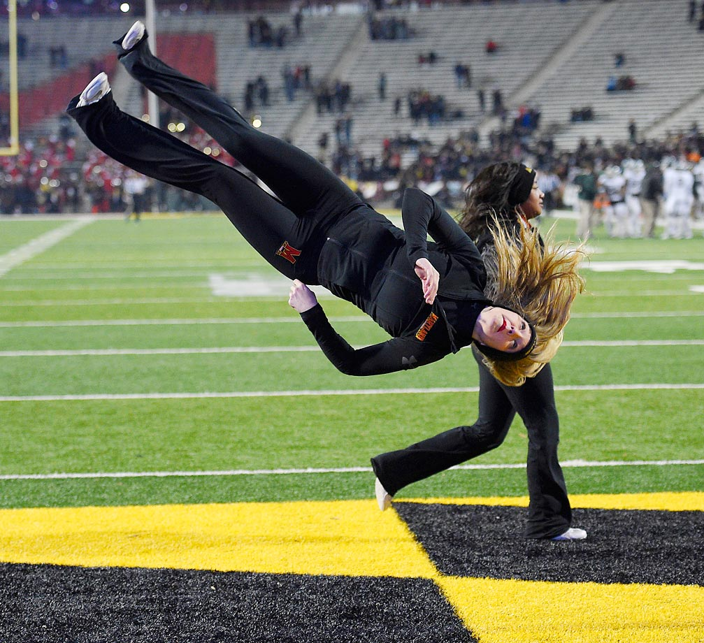 A Maryland cheerleader at the game against Michigan State on Saturday.