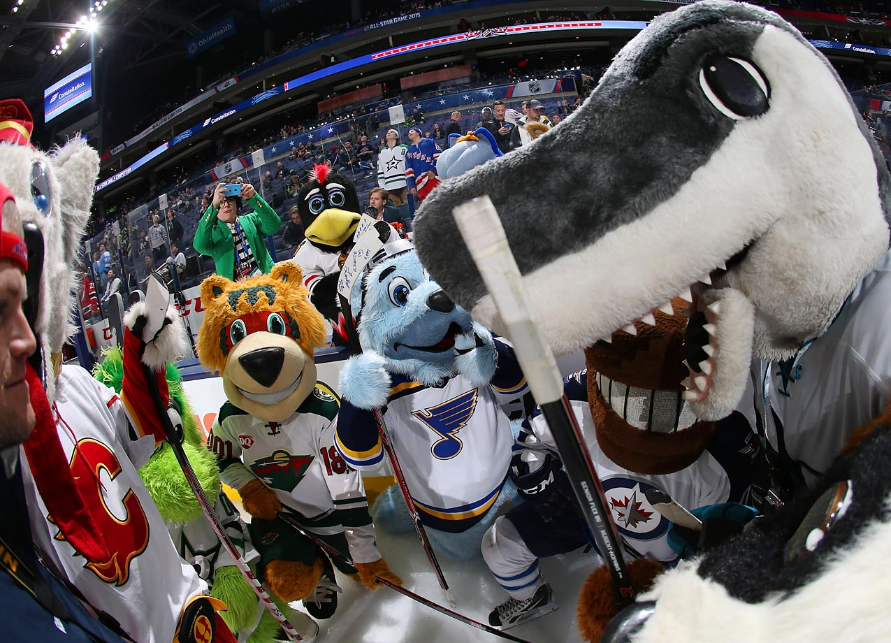 Nordy of the Minnesota Wild, Louie of the St. Louis Blues  and S.J. Sharkie of the San Jose Sharks huddle during the mascot showdown as part of the NHL All-Star Weekend.