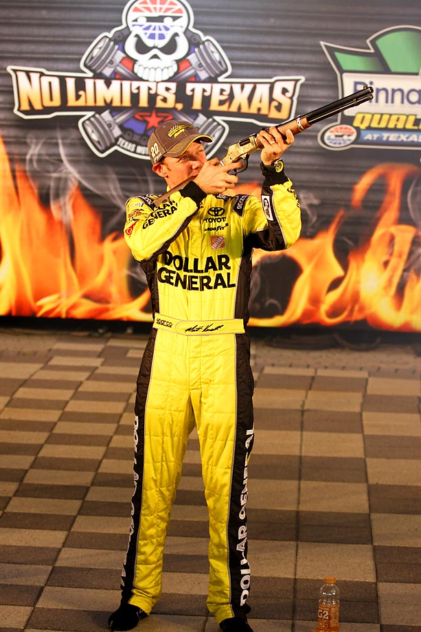 Matt Kenseth takes aim after winning the pole for the Sprint Cup Series AAA Texas 500.