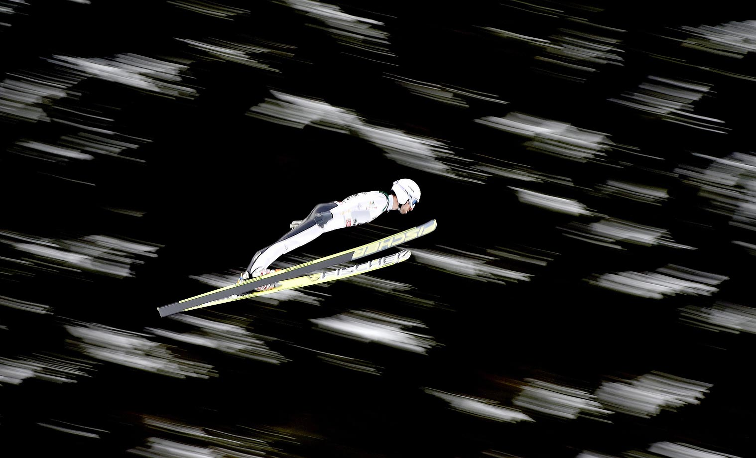 Maxime Laheurte of France competes during the FIS Nordic World Cup HS134/10k in Val di Fiemme, Italy.
