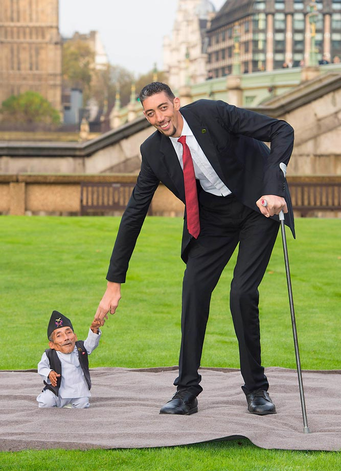 Sultan Kosen from Mardin, Turkey, who holds the Guinness World Record for tallest living male (at 8 feet 3 inches) and Chandri Dangi from Nepal, who holds the Guinness World Record for being the shortest man ever (at 21.5 inches), met for the first time in central London to commemorate Guinness World Records Day in November 2014 and the 60th anniversary of the Guinness World Records book.