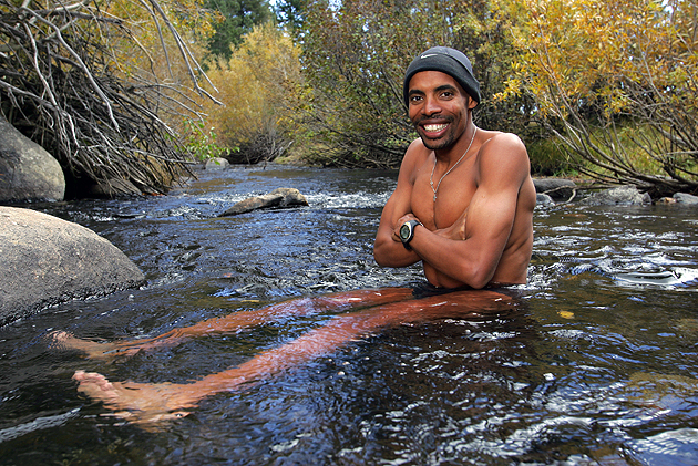 Meb sitting in cold water while training for an upcoming marathon, Mammoth Lakes, CA.