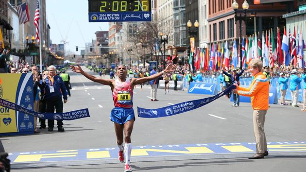 Meb Keflezighi wins the Boston Marathon in April 2014.