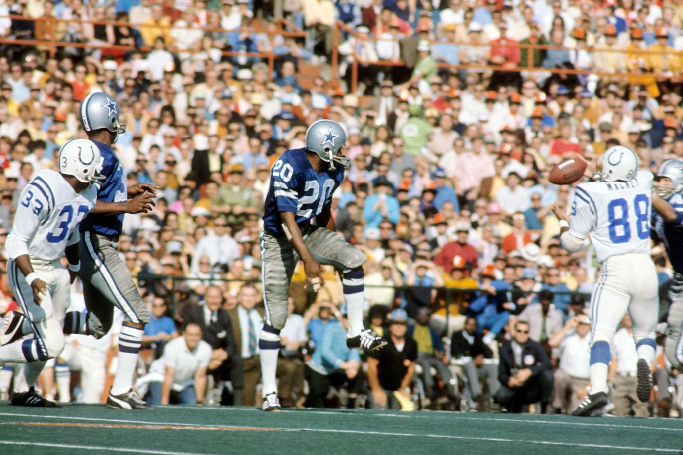 "During Super Bowl V, Cowboys defensive back Mel Renfro tipped a pass that was then caught by the Colts' John Mackey, who ran it for a touchdown. Back then, a deflected pass could only be caught by a second offensive player if it was first touched by a defensive player. This was also the rule in question during the famous ""Immaculate Reception"" play. The rule was finally changed in 1978 to allow for double touches by the offense and dubbed the Mel Renfro rule."