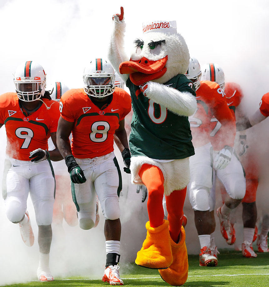 #12: Miami's Sebastian the Ibis — Just like Puddles at Oregon, only with national championships and way more sanctions.