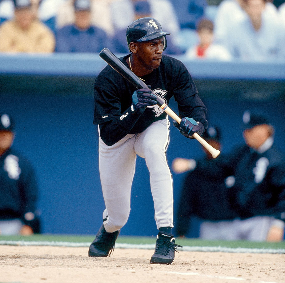 Michael Jordan looks to bunt in a spring training game.