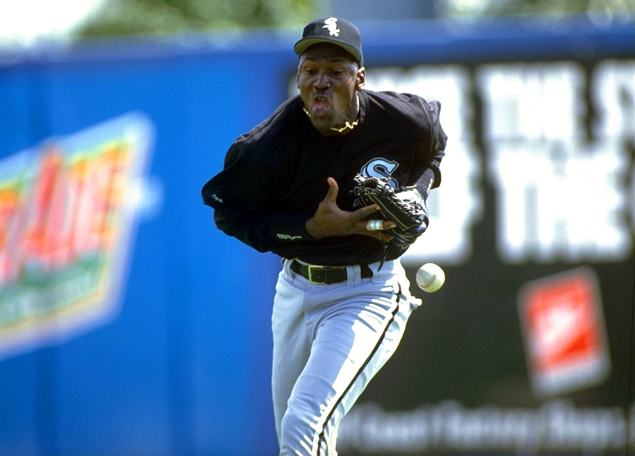 Michael Jordan commits an error in right field during a spring game with the Chicago White Sox in March 1994.